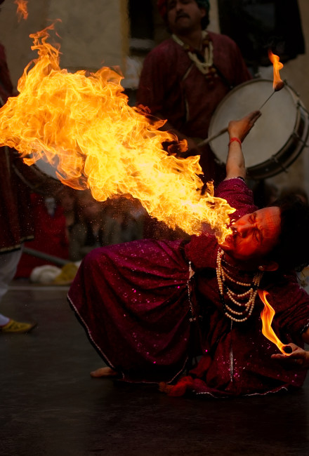"Fire breathing ""Jaipur Maharaja Brass Band"" Chassepierre Belgium. Photo by Luc ViatourLicense: Attribution-ShareAlike 3.0 Unported (CC BY-SA 3.0)"